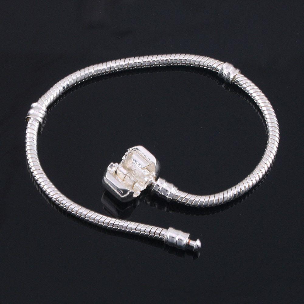 All'ingrosso della fabbrica 925 bracciali in argento sterling 3mm catena del serpente Fit Pandora Charms Bead braccialetto braccialetto creazione di gioielli regalo le donne degli uomini