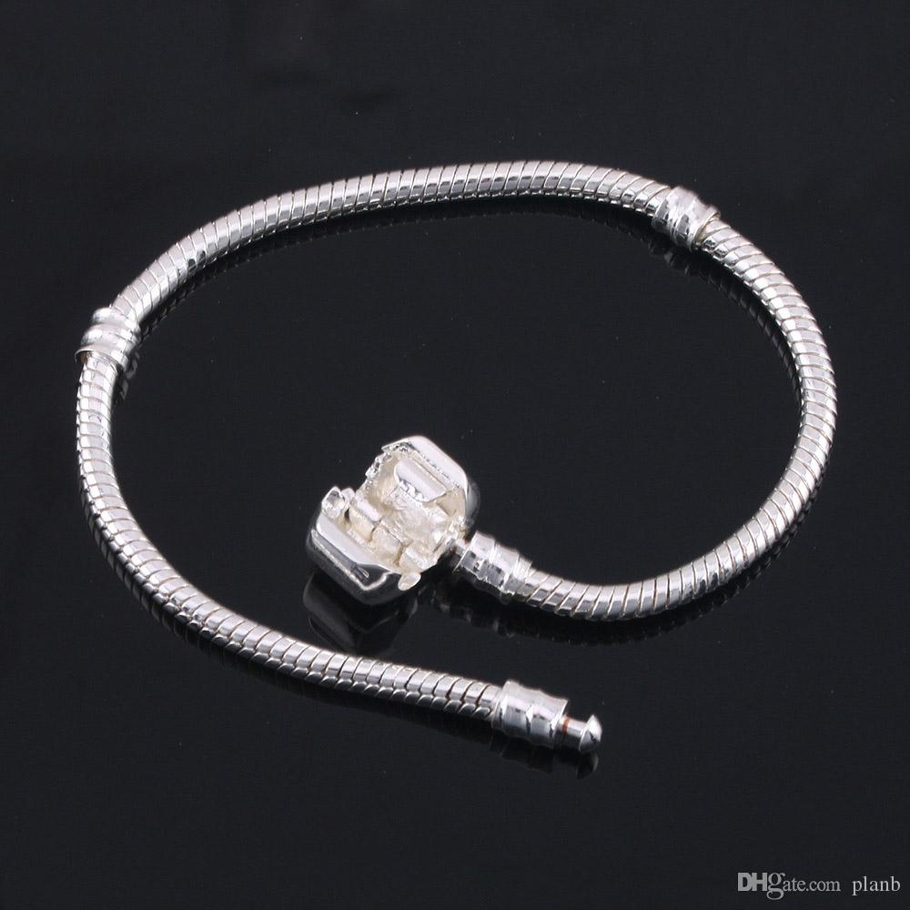 Fabrika Toptan 925 Ayar Gümüş Bilezikler 3mm Yılan Zincir Fit Pandora Charms Boncuk Bileklik Bileklik Takı Yapımı Hediye Erkekler Kadınlar Için