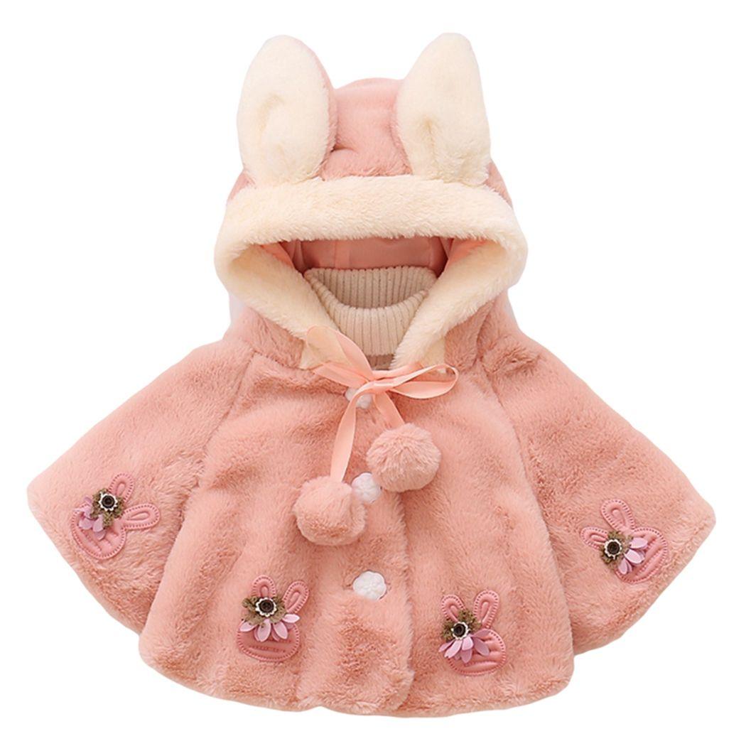 0783a5635 Baby Girls Coat Infant Fleece Faux Fur Rabbit Beaded Ball Cloak Cape ...