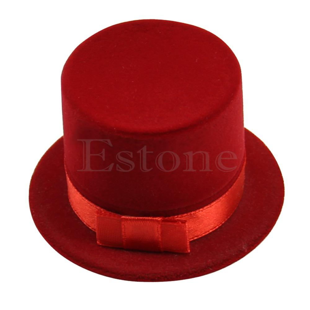 Cute Straw Hat Velvet Rings Jewelry Box Earring Ear Stud Case Gift Container
