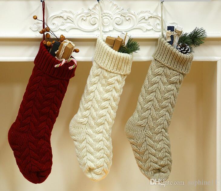 Knitted Christmas Stockings Long Knitting Sock Gift Bag Xmas Tree Ornament New Year Home Decoration Yard Decor