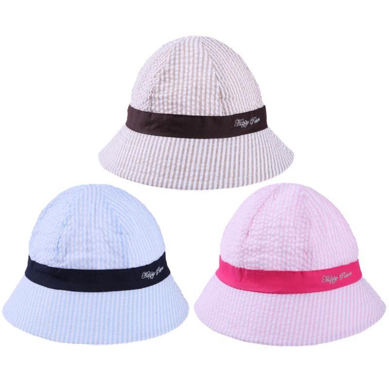 bc2a0f5532b6 2019 Toddler Infant Bucket Hat Summer Outdoor Newborn Baby Girls Boys Bucket  Hat Striped Toddlers Sun Cap With Chin Strap From Bosiju