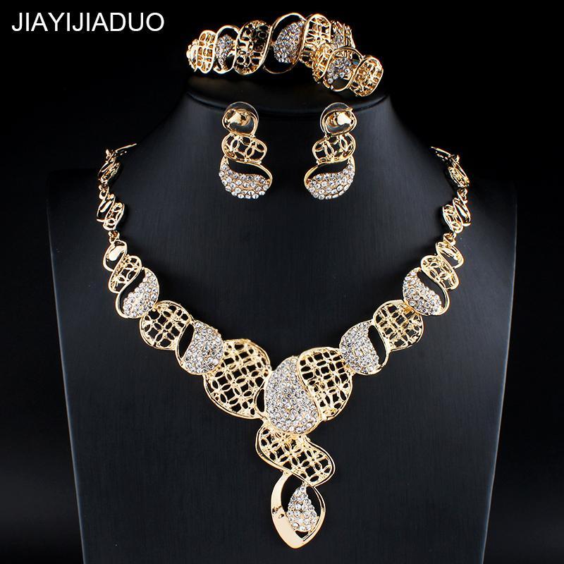 c2bd0614ce77 Compre Jiayijiaduo Conjunto De Joyas Indias Para Mujeres Accesorios De Boda  Collar De Color Oro Pendientes Pulseras Anillos Conjunto De Regalo  Dropshipping ...