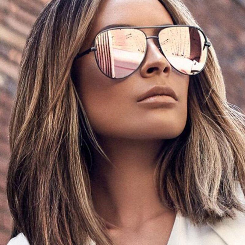 74e16997979 WFEANG Pink Sunglasses Silver Mirror Metal Sun Glasses Brand Designer  Sunglasses Women Men Shades Top Fashion Eyewear Oculos Tifosi Sunglasses  Cheap ...