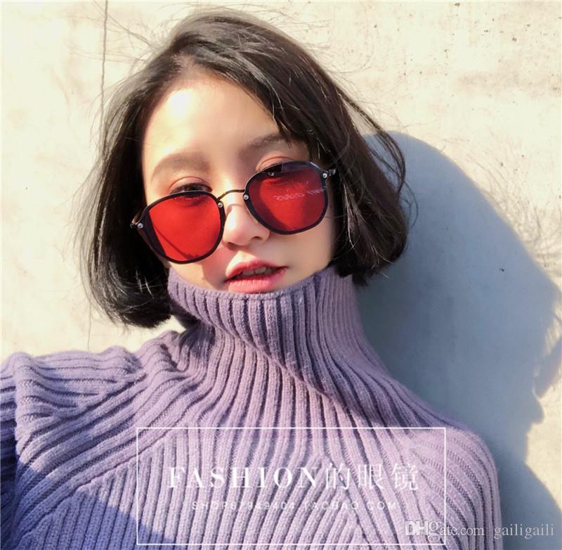 cbb77794ce Korean Version Of Retro Circular Red Reflective Sunglasses