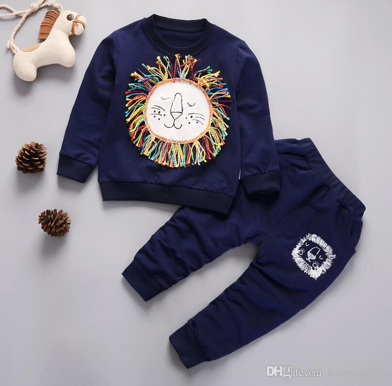 a63562dd Kids spring autumn Clothes Cute lion Printed T-shirt pants Set Comfortable  Warm Children Clothing baby boys Winter clothing