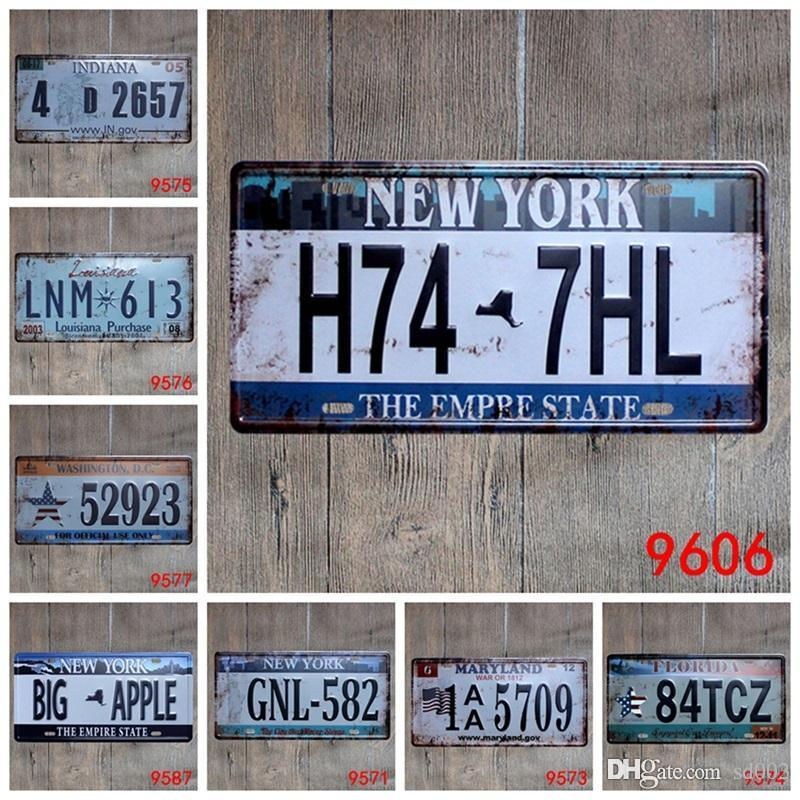 Retro Art Wall Craft Iron Painting Metal Antique Design Tins Sign License Plate Number Tin Poster For Bar Decor Hot Sale 15*30cm ZZ