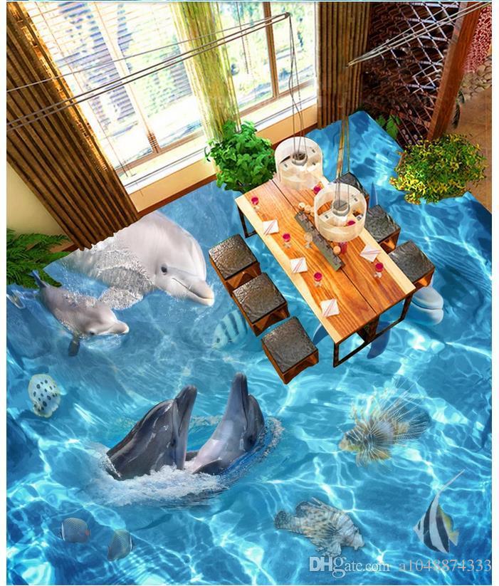 Wholesale-Custom Photo Floor Wallpaper Realistic Sea World 3D Flooring living room PVC Self-adhesive Floor Murals Wallpaper decor Painting