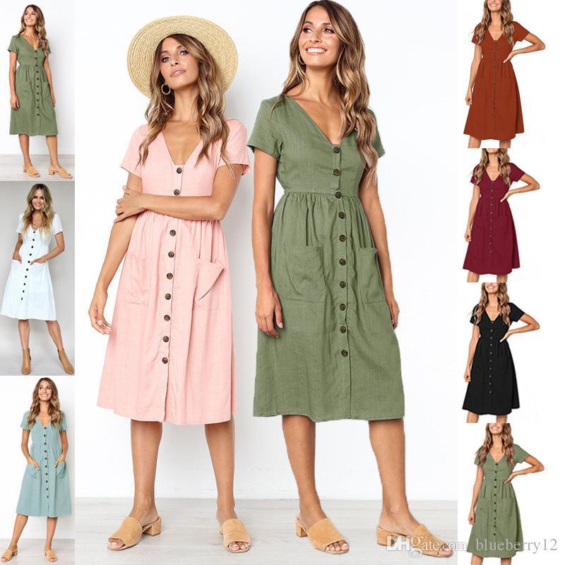 4ff7be446c16 Neue Frauen Kleid Sommer V-Ausschnitt mit kurzen Ärmeln Sommerkleid  weibliche Französisch Stil Taste verziert Taschen Design Urlaub knielangen  ...