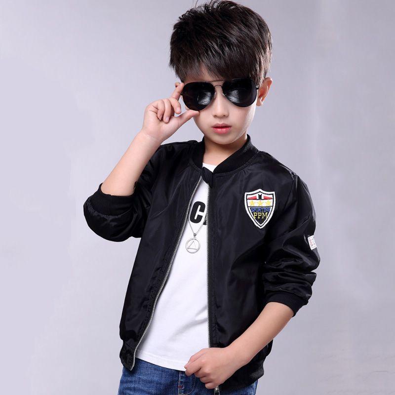c211e9e4e 2018 Spring Autumn Boys Clothes Coat Fashion Army Bomber Jacket Casaco  Infantil Menino Solid Zipper Children Baseball Outerwear Winter Jackets For  Children ...