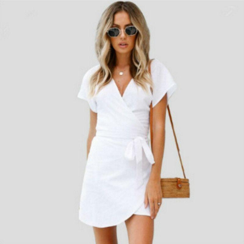 ef810eddd2ca White Mini Sexy V Neck Short Sleeve Summer Dresses 2018 Casual Beach Women  Lace Up Femme Short Dress Vestidos Cute Dresses Women Long Striped Dresses  From ...