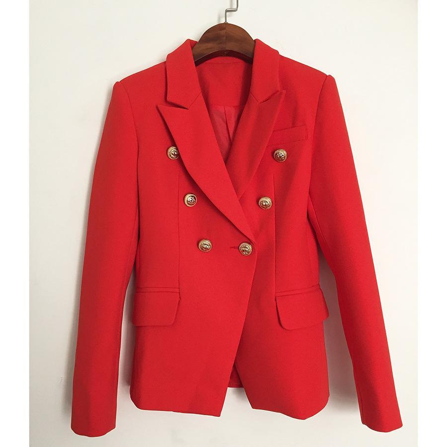 e19334fed57 Compre HAGEOFLY Otoño Invierno Chaqueta Roja Mujer Oficina Chaqueta De  Abrigo Formal Formal Casual Botones De Metal De Doble Botonadura Ropa De  Trabajo ...