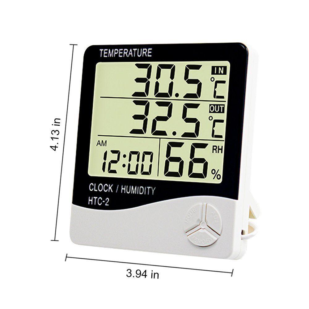 Цифровой гигрометр термометр ЖК-экран монитор температуры влажности крытый открытый метеостанция с будильником HTC-2