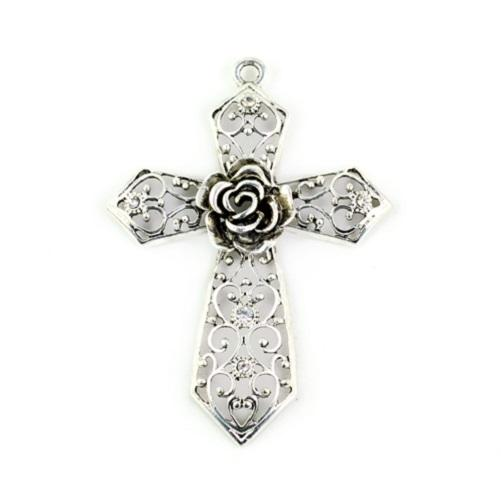 Antique silver Hollow Out Rose Flower Cross pendants for DIY Necklace Making Charm embossed Jewellery scarf pendants, PT-334