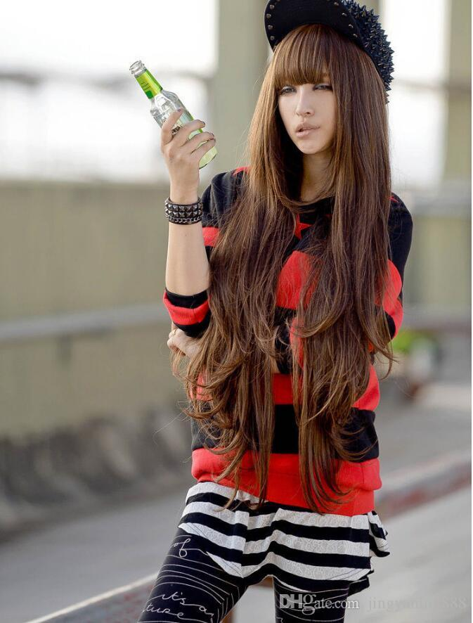 80cm wig female long roll hair stylish vogue personality new style hot selling manufacturer direct selling spot