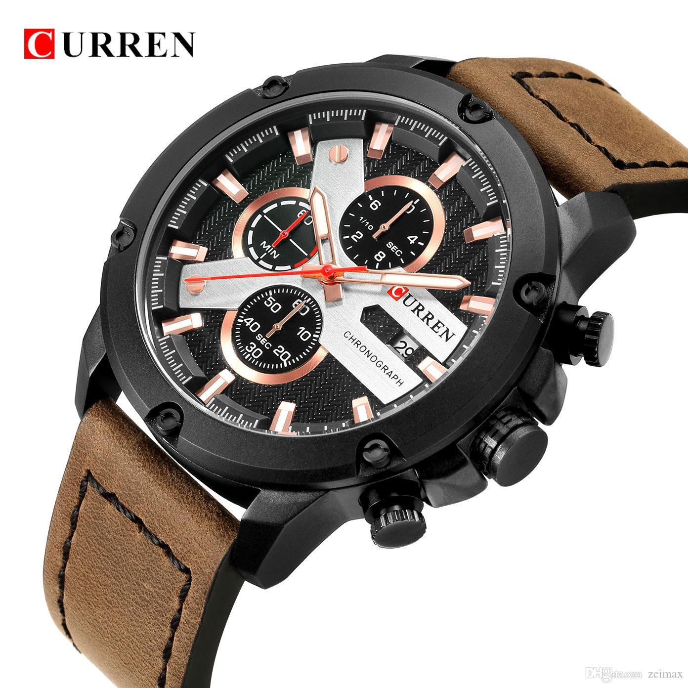 fdca59e465a Compre Moda Casual Pulseira De Couro Homens Esporte Relógios CURREN Luxo À  Prova D  Água Cronógrafo Masculino Militar Relógio De Pulso De Quartzo  Relógio ...
