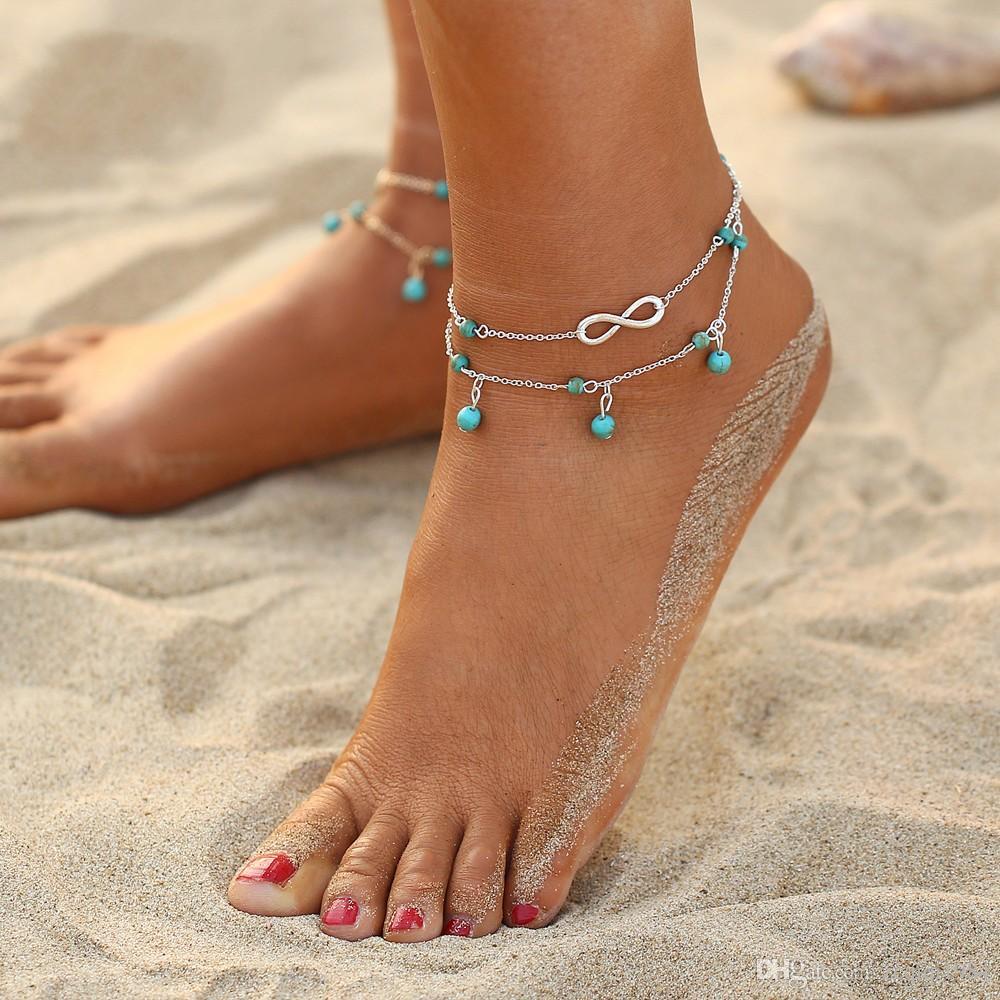 مثير المرأة مزدوجة سلسلة الخرز قلادة خلخال مثير المرأة الذهب والفضة اللون سلسلة القدم سوار سحر لشاطئ خلخال سلسلة
