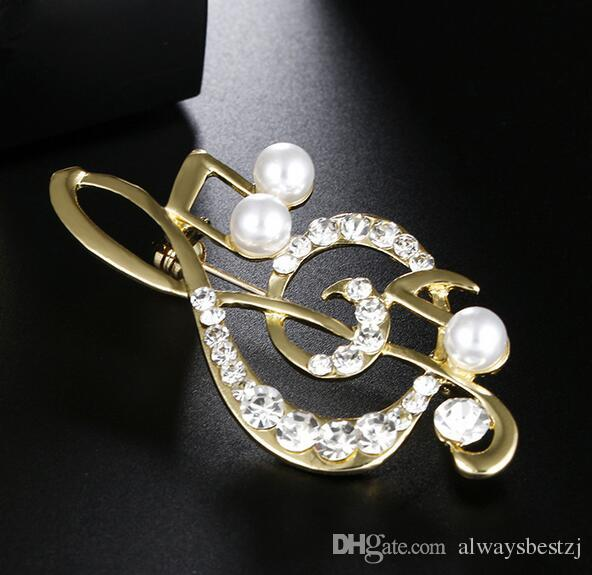 Vintage Musical Notation Brooches Clear Crystal Rhinestone Pearl Corsage Collar Pins Women Girl Wedding Prom Jewelry Clothing Accessories