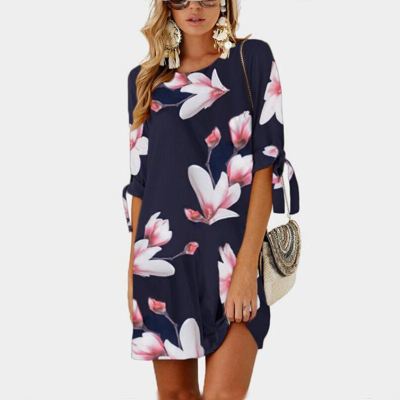 51ee30b2a31 2018 Female Plus Size Floral Printed Mini Dresses Casual O Neck Straight  Sundress Dress Women Summer Half Sleeve Chiffon Dress White Dress With  Flowers Prom ...