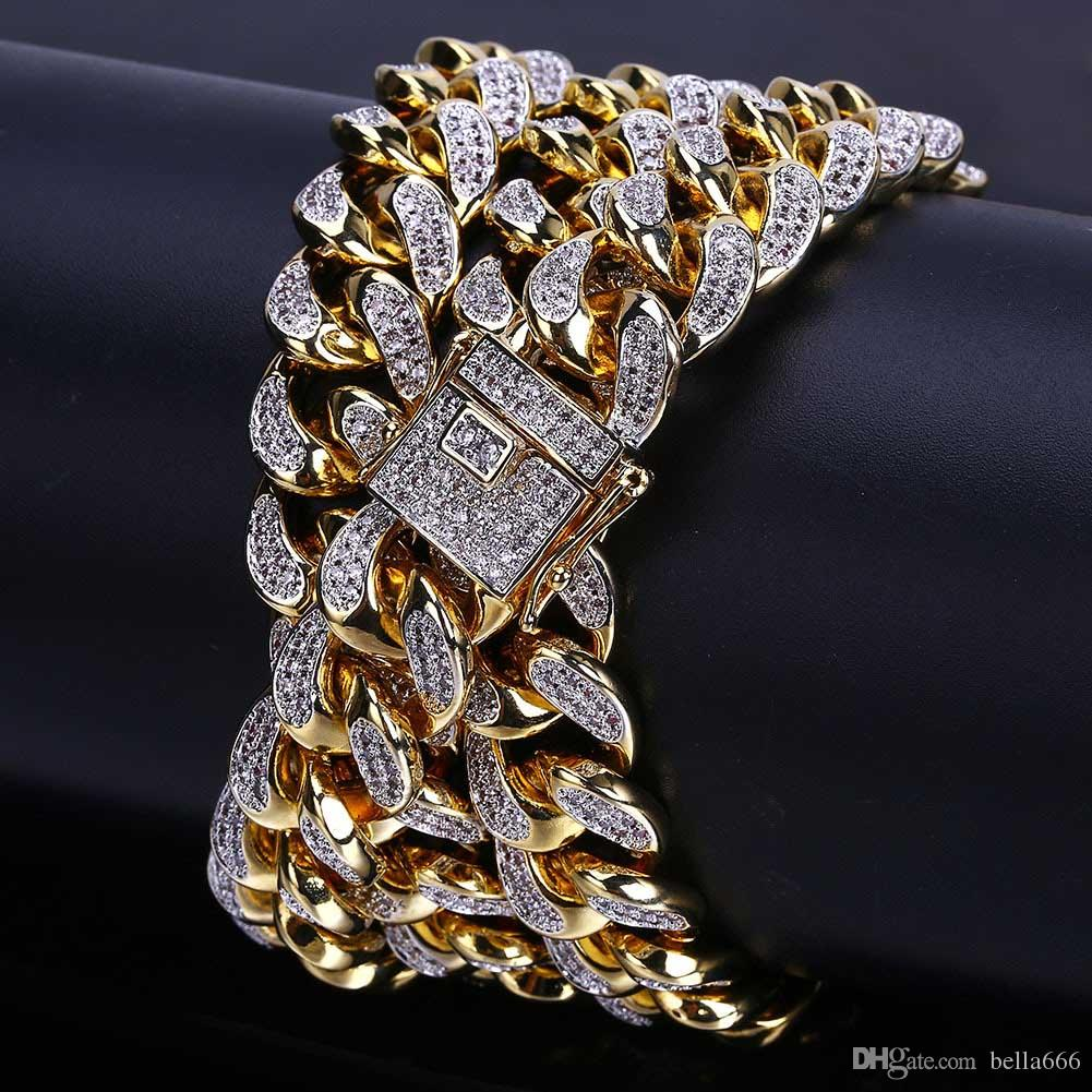 18K Gold Plated Men Hiphop 14mm Cuban Chain Paved Full Cubic Zirconia Necklace Rapper Jewelry Miami Link Chains