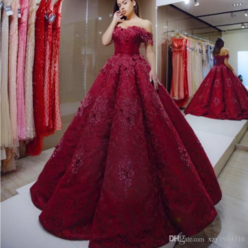 496873dfba Charming Dark Red Evening Dresses Off Shoulder Appliques Beaded Lace Ball  Gown Prom Dress Glamorous Dubai Evening Gowns Red Carpet Dress Lace Gowns  Long Red ...