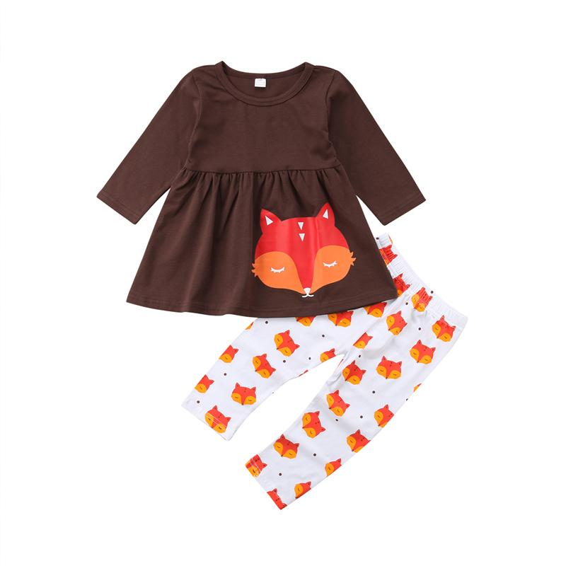 9f0831d90 2019 Kids Baby Girl Clothes Set Fox Pattern Clothes Cotton Long ...