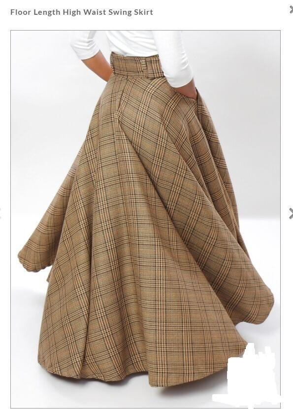 e2c8a97ace Women's LONG SKIRT Plus Size Plaid Checkered Tartan Spring Summer High  Waist Cotton Maxi Swing Elegant Skirt 2018