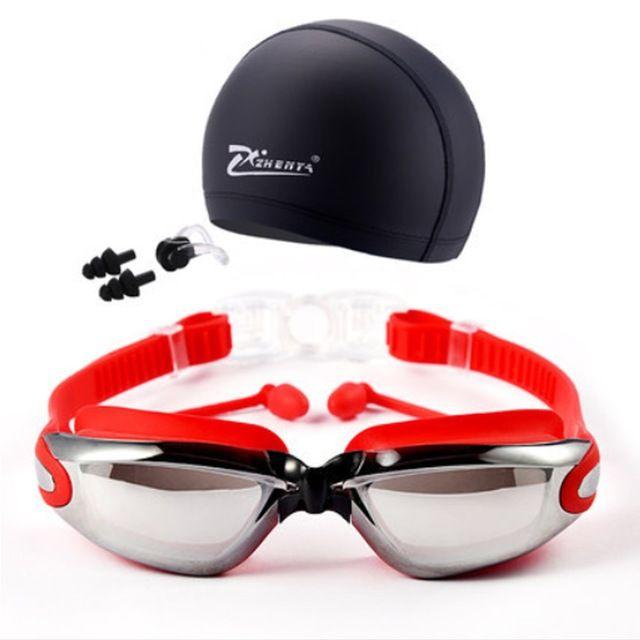 Miopía Gafas de natación Gorras Eeywear HD Miopía Gafas de natación Gafas de dioptría Chapado lente Piscina de natación Uso Accesorios / set