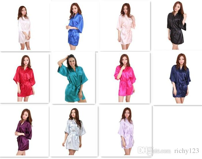 10pcs 11 colors Ladies womens Solid plain rayon silk short Robe Pajama Lingerie Nightdress Kimono Gown pjs Women Dress elegant M010