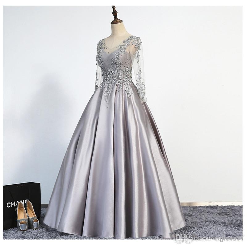 Robes de soirée élégantes et argentées de taille longue 2019 nouvelles manches longues Scoop lacets longueur au sol Appliques Perles Real Picture Prom robes