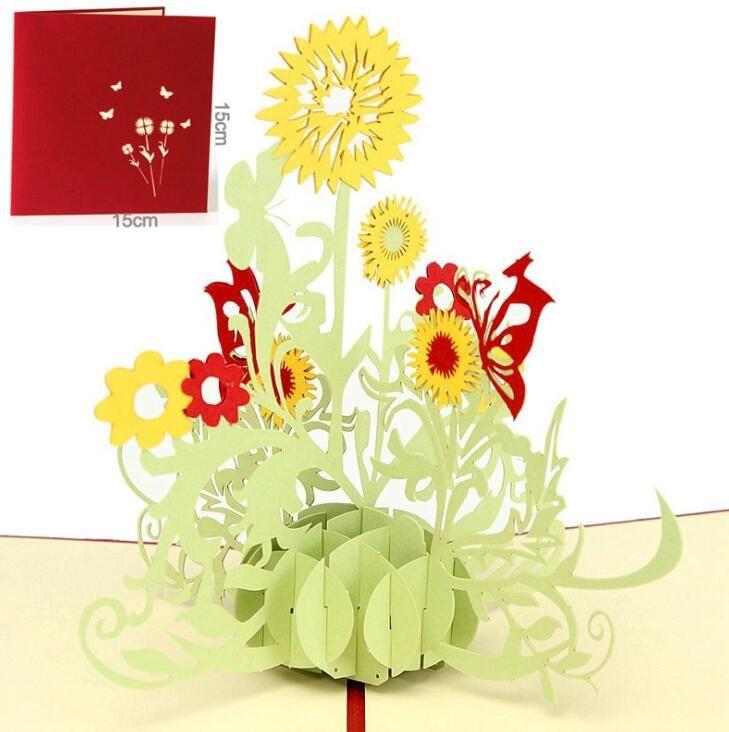 3d Sunflower Design Greeting Card Pop Up Flower Birthday Greeting