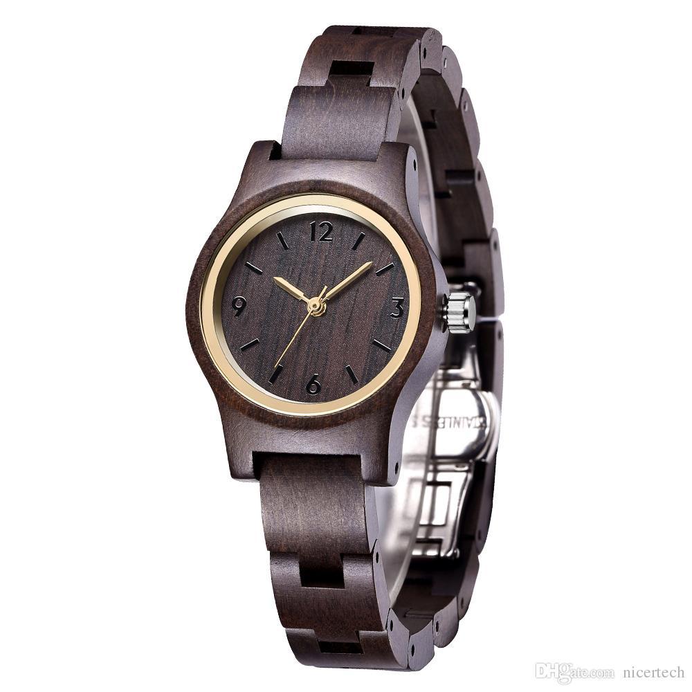 92f3dd40e0a9 Compre Reloj De Madera Negro Venta Caliente Reloj De Cuarzo Para Mujer Reloj  De Madera Relojes De Pulsera De Madera Para Hombres Calendario Natural  Pantalla ...