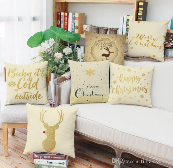 Christmas New Year gift pillowcase Merry Christmas elk snowflake design sofa cushion cover car waist pillow case 149styles