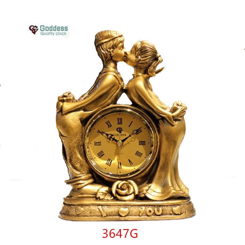 Lebhafte Liebhaber Harz Handwerk Desktop Uhr Europäischen Stil Goldene Hochzeit Dekoration Schreibtisch Uhren Stille Bewegung Heimtextilien