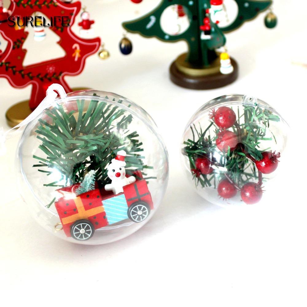 Boule Plastique A Decorer décorations de saison lot de 5 boules de noël transparentes