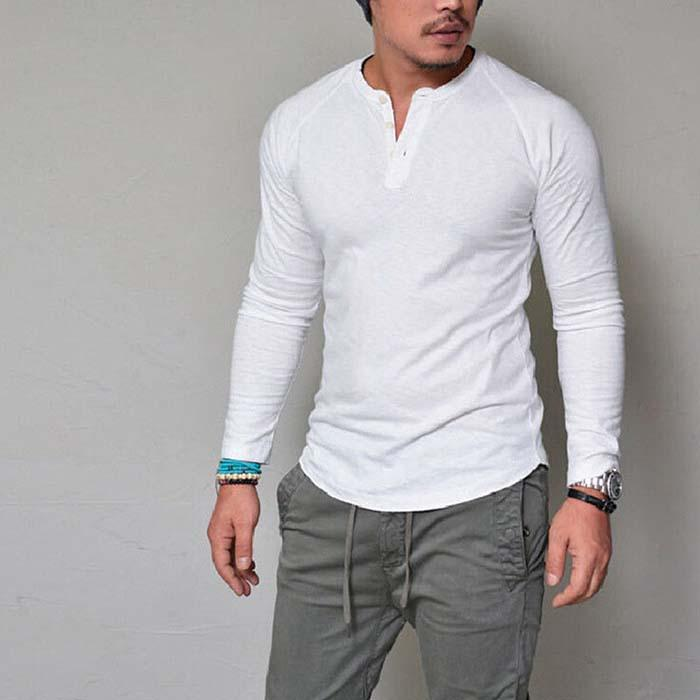393b7419e01b Autumn And Winter New Men'S T Shirt Casual V Neck Long Sleeved Men'S Shirt  Solid Color Fitness Sportswear Men'S Shirt Cool T Shirt Buy Shirts Online  From ...