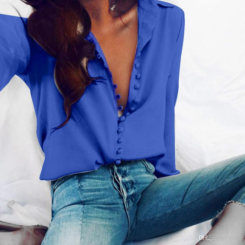 2018 New Womens Ladies Sexy Long Sleeve Loose Casual Shirt Tops Blouse Plus Size