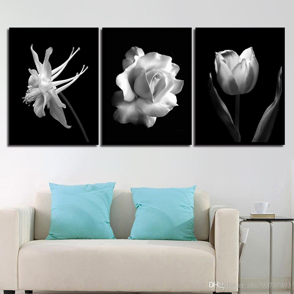 Black And White Pictures Printing Wall Modern Rose Flower Canvas