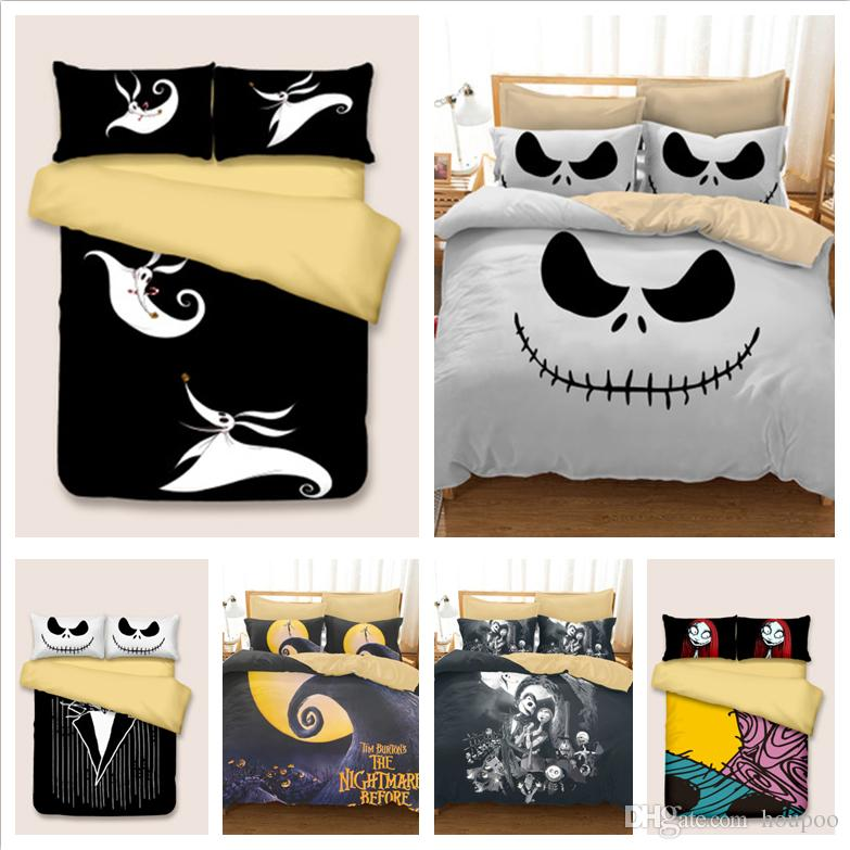 6 Styles Halloween Skull 3D Printed Twin~King Size Bedding Sets Bed Sheets Queen Bedding Sets King Size Comforter Set