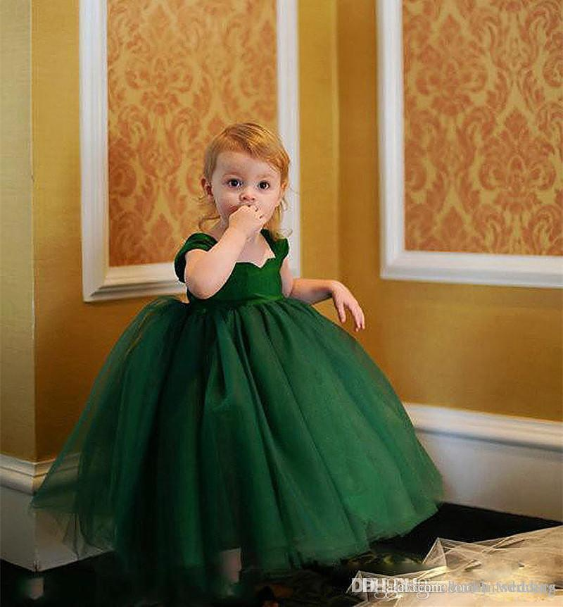 d046b1f1b003 Lovely Dark Green Baby Toddler Infant Ball Gown Flower Girl Dresses Little  Girls Wedding Party Dress Girls Holy Communion Formal Party Dress White  Toddler ...