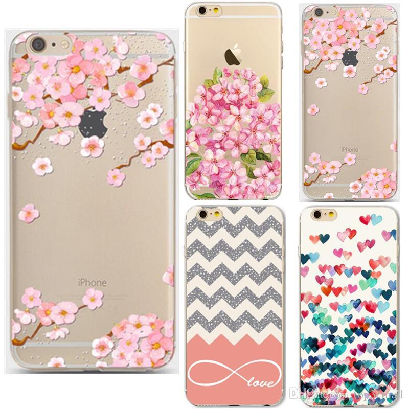 For Iphone 6plus6s Plus Hard Pc Transparent Case Flower Floral