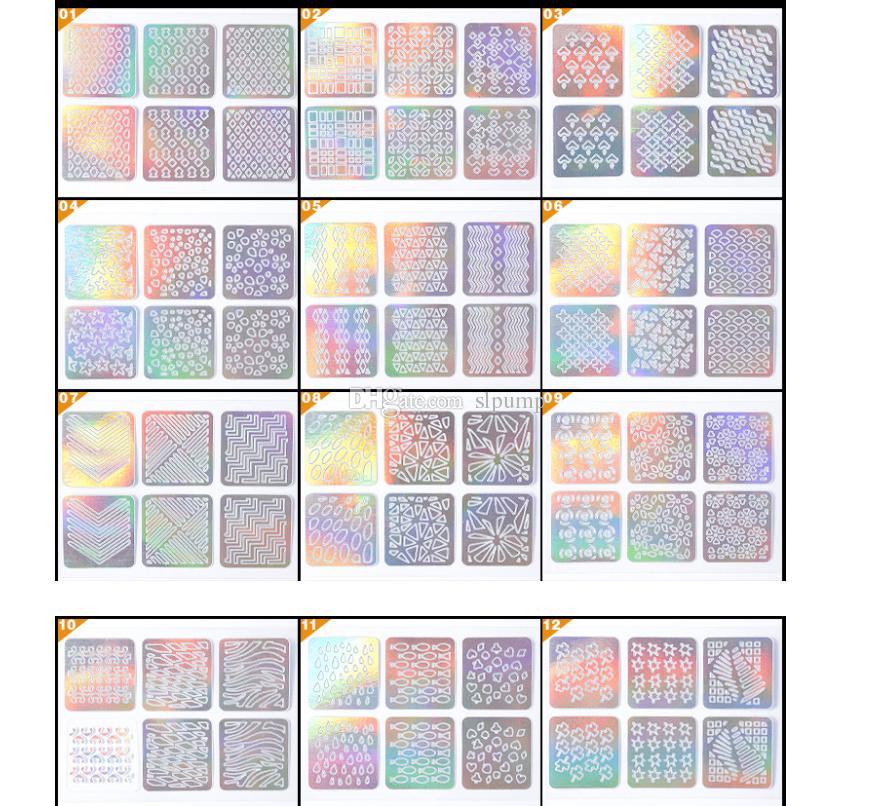 24sheetsNail Art Sticker 3D Laser Hollow Nail Vinyls stencil Stickers Silver Irregular Stencils Stamping Guide Decals Manicure Tools
