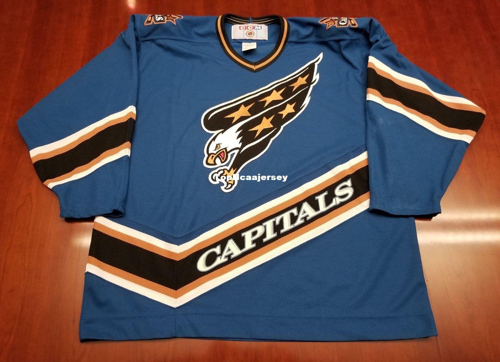 cbddaa8e9e6 2019 Wholesale Washington Capitals Vintage CCM Cheap Hockey Jersey Blue  Screaming Mens Retro Jerseys From Topncaajersey