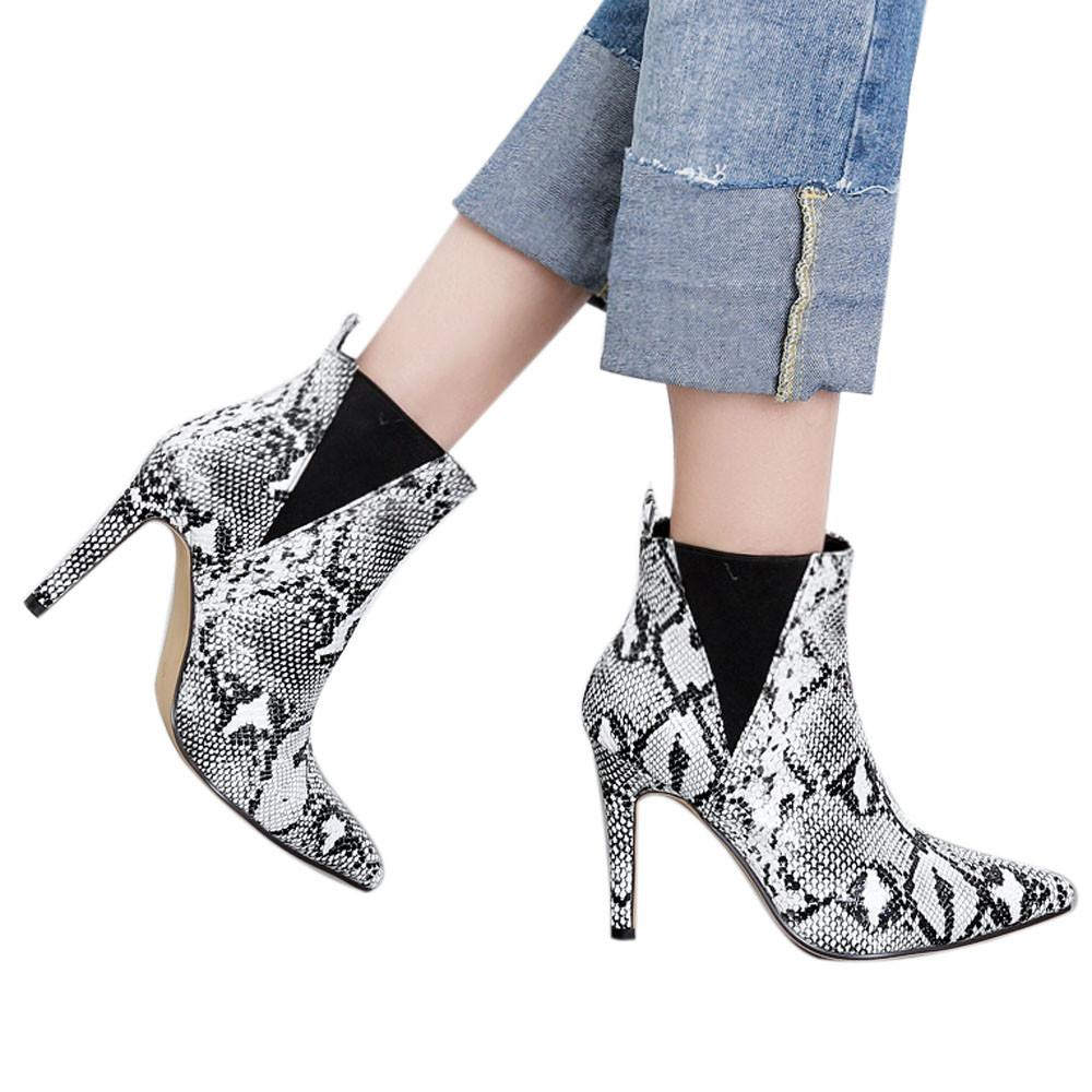 a66b674c86a9a9 Waterproof boots women ankle boots pointed toe thin heels snake jpg  1000x1000 Snake print shoes for