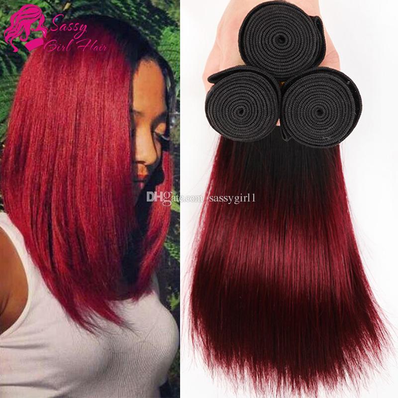 Red Ombre Peruvian Straight 3 Bundles Dark Red 1b99j Peruvian Hair