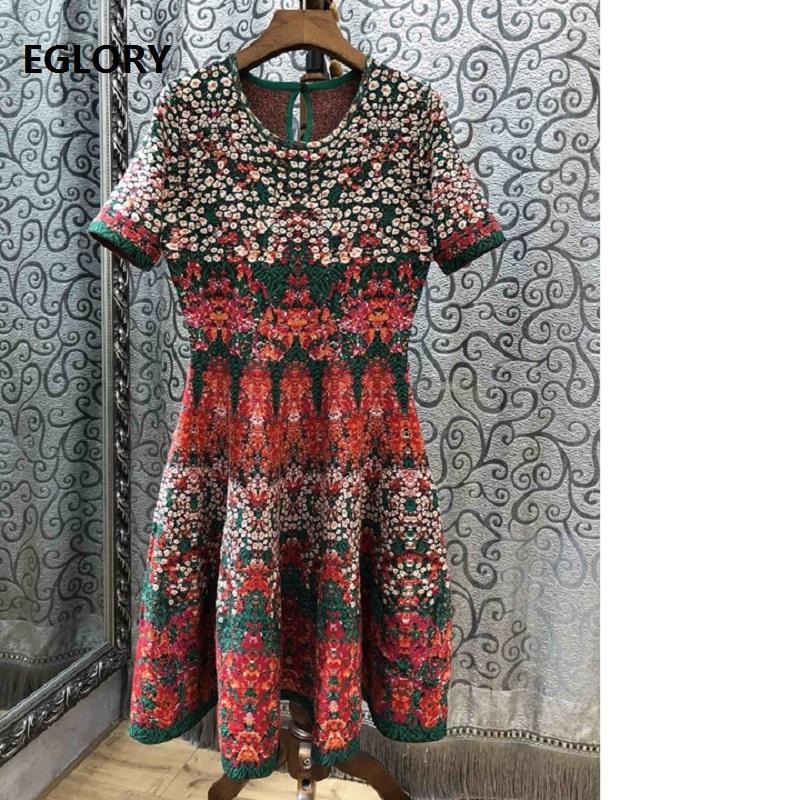 d8a002e7d4e Großhandel Strickkleid 2018 Herbst Winter Frühling Pullover Pullover Kleid  Frauen Vintage Jacquard Print Stricken Kurzarm Lange Pullover Von Yyliang
