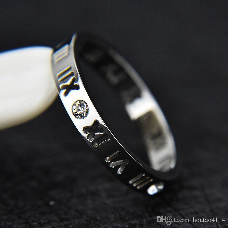 Carta romana anillo de diamante para mujer, anillo de oro rosa para mujer, anillo de plata con números romanos Anillos de banda para mujer