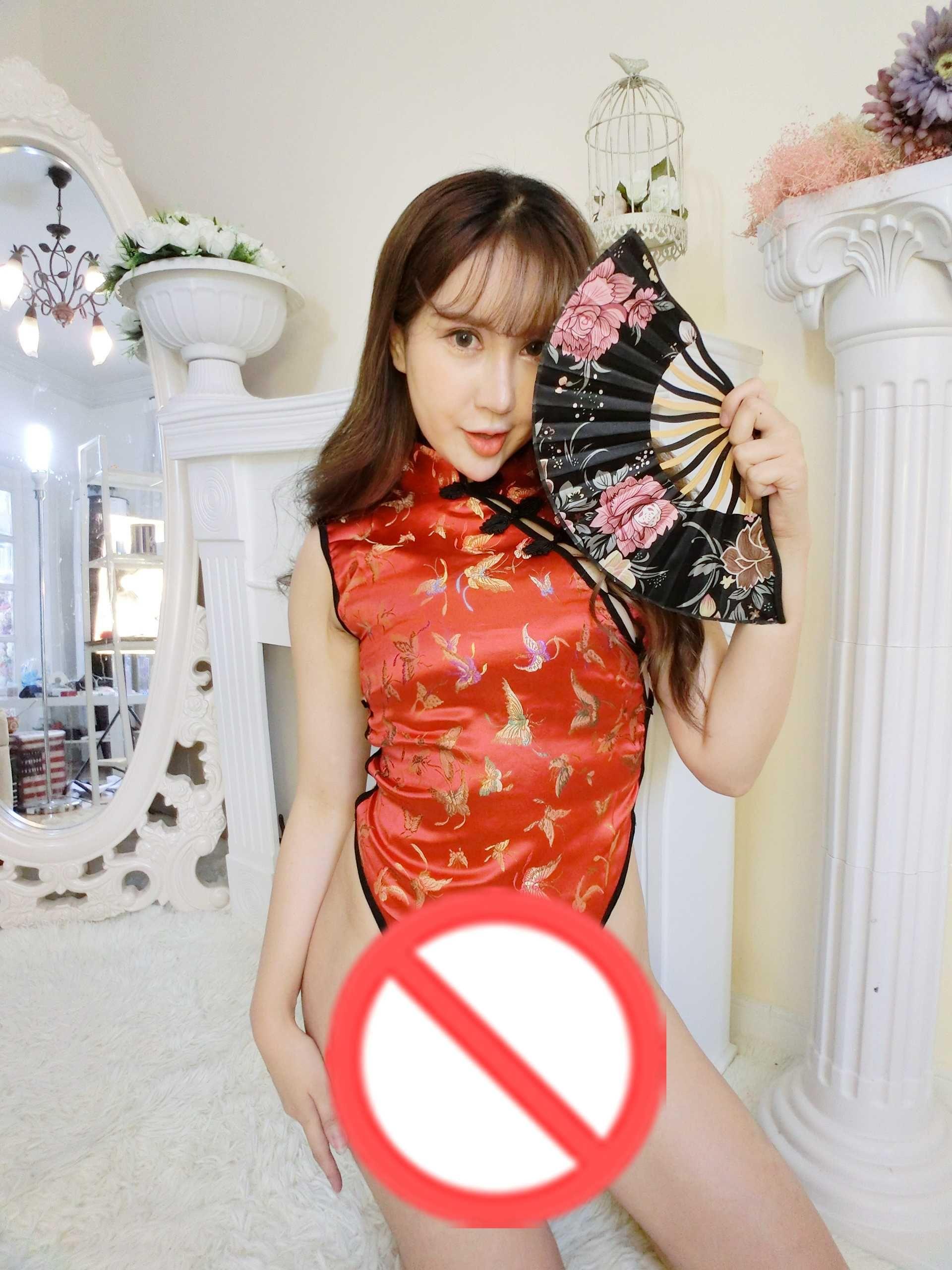 Livraison gratuite New sexy lingerie cosplay split rouge style chinois cheongsam Sexy Nightclub sexy light dress ouvrir dos mince mince serré nuit