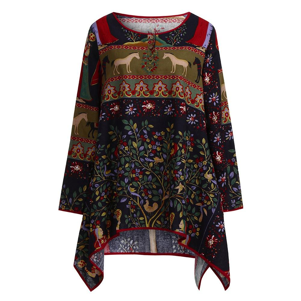 775d36432ab57 2019 Autumn Plus Size Clothes Cotton Linen Shirts Vintage Women Loose Long  Sleeve Blouse Casual Print Tops Shirt Blusa Mujer 5XL From Redbud01