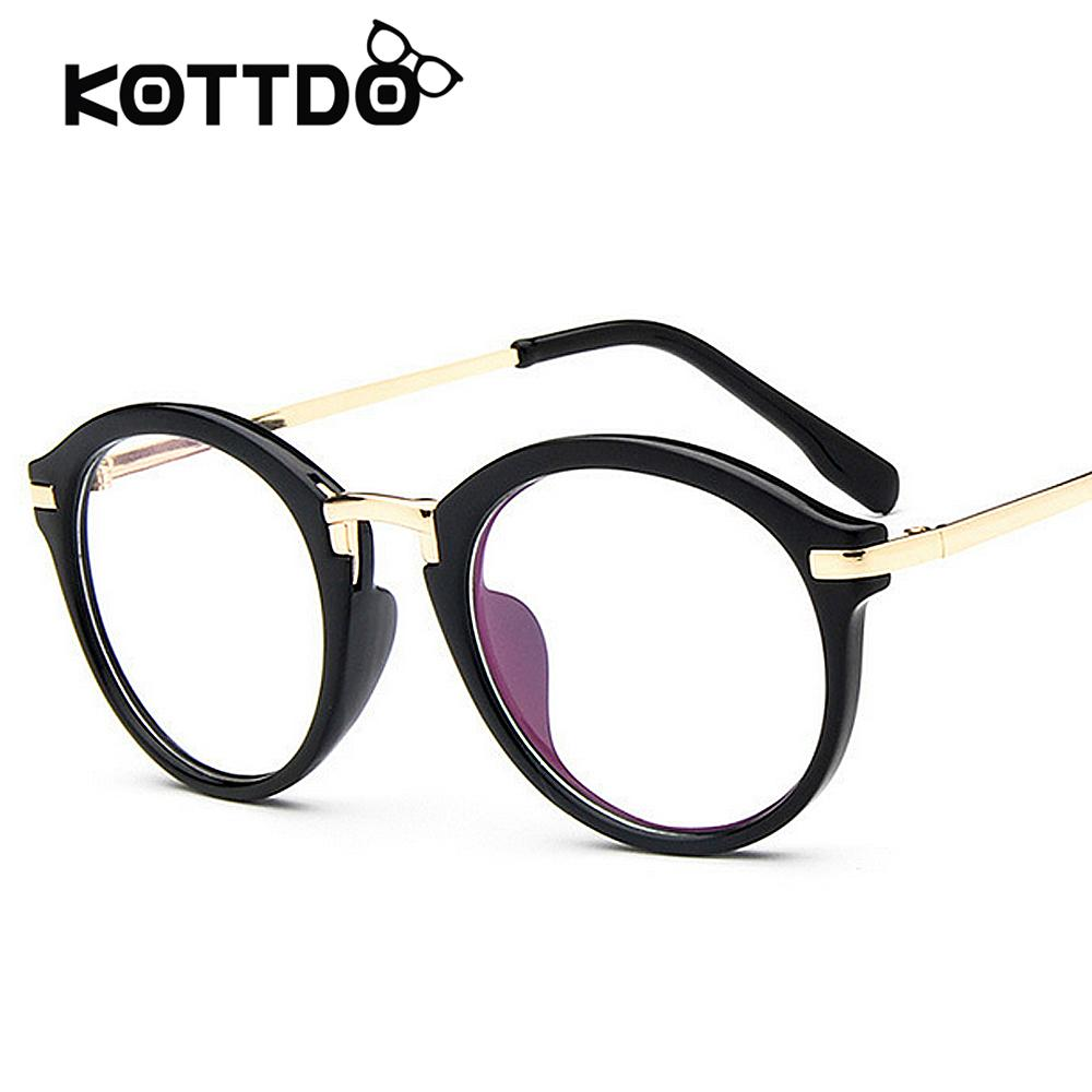 2018 Retro Round Eyeglasses Frame Women\'S Brand Designer Men Metal ...